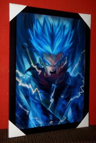 Quadro Dragon Ball Trunks Super Sayajin Blue Arte 42x29cm
