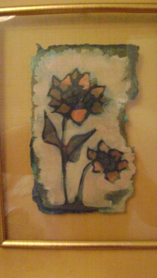 Cuadro :flores Entre Vidrios Batik Sobre Papel Hecho A Mano