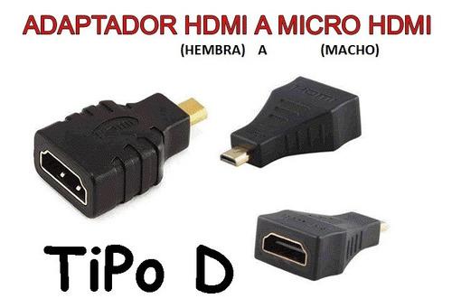 Adaptador / Conversor Microhdmi Macho A Hdmi Hembra - Tipo D