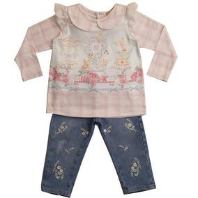 Conjunto Bebê Blusa E Calça Jeans Bordada Petit Cherie