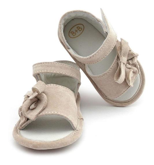 Sandália Infantil Menina Bebê Couro E Camurça