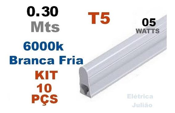 Kit C/ 10 Tubular T5 C Calha 5w 0,30 Cm - 6000k Branca Fria