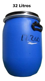 Tambo Azul De Plastico 1 Solo Uso Resistente Tapa 32 Litros