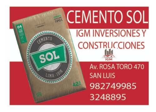 Cemento Sol Bolsa 42.5 Kg