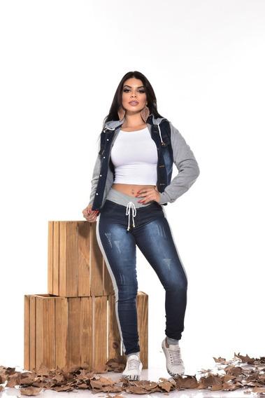 Conjunto Calça Jeans ,jaqueta Jeans C / Moletom E Capuz 2019