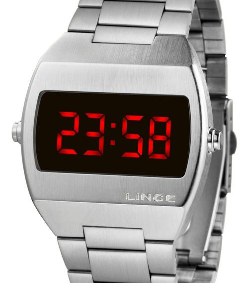 Relógio Lince Unissex Digital Quadrado Prata Mdm4620l Vxsx