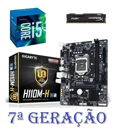 Kit Core I5 7400 + H110 Gigabyte H110m-h Ddr4 + 4 Gb Ram