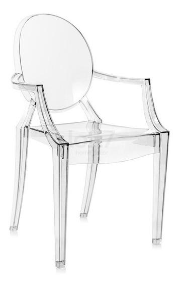 Cadeira Acrílica Transparente Sofia Com Braços Incolor