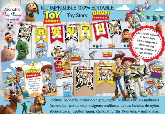 Kit Imprimible Candy Bar Toy Story 100% Editable