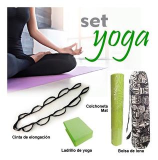 Combo Yoga Colchoneta Mat, Bolsa, Ladrillo, Cinta Elongación