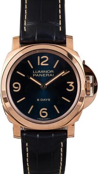 Relógio Masculino Pulseira De Couro Dourado A Prova D