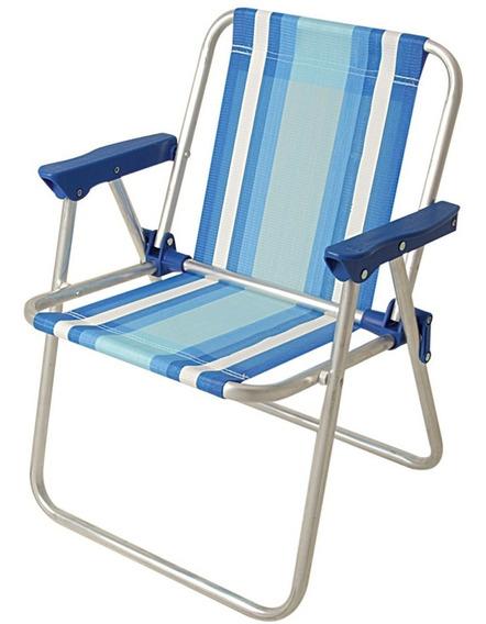 Cadeira Infantil Alumínio Praia Piscina Mor Azul Rosa 1 Uni
