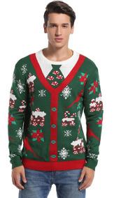 Daisysboutique Hombre Navidad Holiday Falso Cardigan Swea