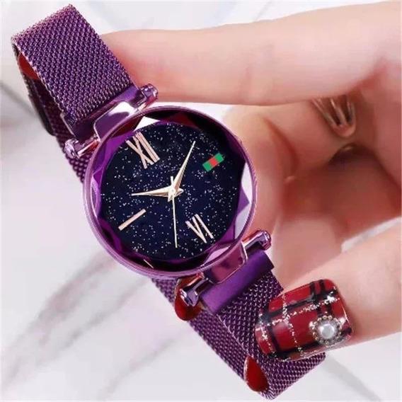 Relógio Céu Estrelado Iuxo Pulseira De Imã - Cor Violeta/azu
