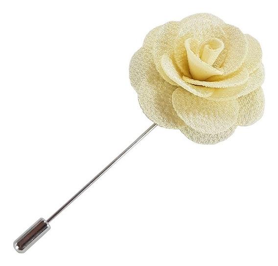 Fistol Pin Broche De Flor De Tela Color Beige Para Solapa