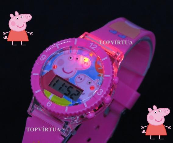 Relógio Peppa Pig Digital Pulseira 3d Som Luz Pink Original