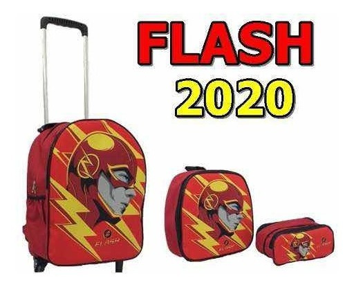 Kit Mochila Infantil Escolar Rodinha The Flash Menino