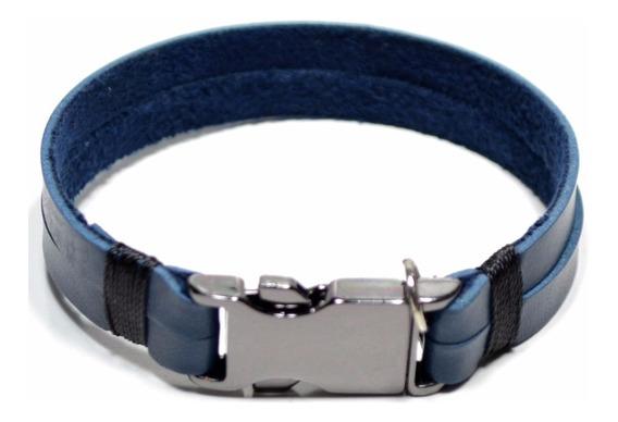 Pulseira Bracelete Masculina Feminina Couro Azul E Grafite