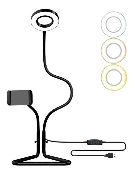 Tripe 2 Em 1 Para Celular Luz Led Ring E Controle Remoto