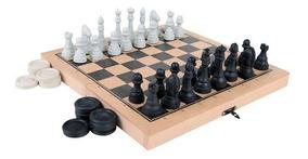Tabuleiro Jogo Xadrez E Damas Carlu Com Estojo Dobrável