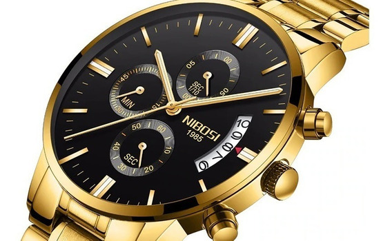 Relógio Masculino Nibosi Serie Ouro Original Excelente