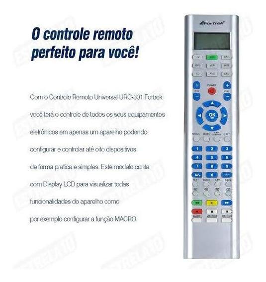 Controle Remoto Universal 8 Em 1 Urc-301 Prata Fortrek
