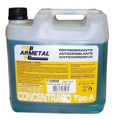 Liquido Anticongelante Armetal 5 Litros Azul  Permanente