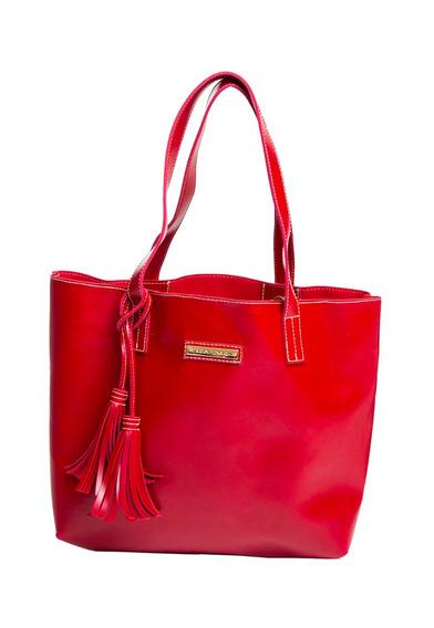 Bolsa Vermelha Em Couro Ecológico Fashion
