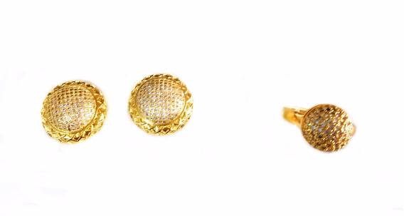 Semi Jóias Anel N°19 E Brinco Dourado Pedras