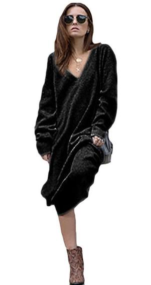 Inverno Mulheres Maxi Solto Suéter Tricotado Vestido Profun