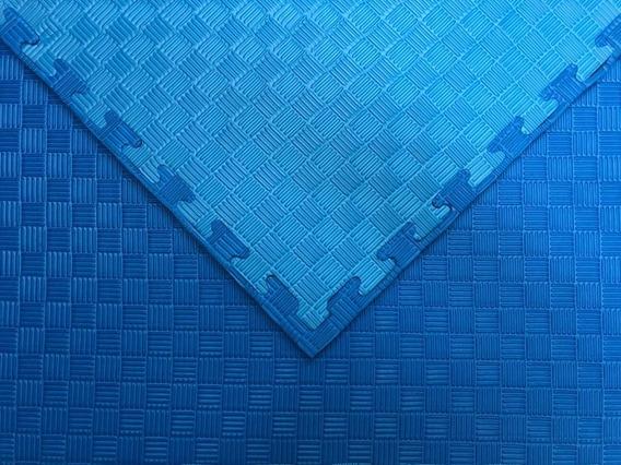 10pz Piso Tatami 1 X 1 M. X 2 Cm Bicolor Azul Claro/oscuro