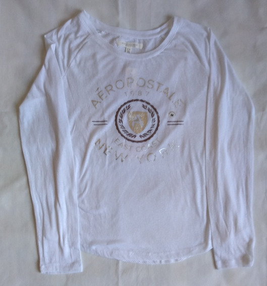 Remera Aéropostale Long Sleeve Shield Mesh-back Graphic T