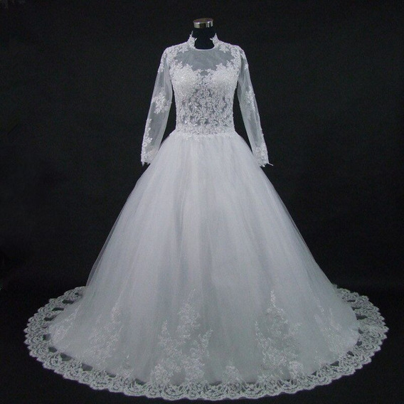 Vestido De Noiva Suíça Manga Longa Luxo Cauda Plus Size