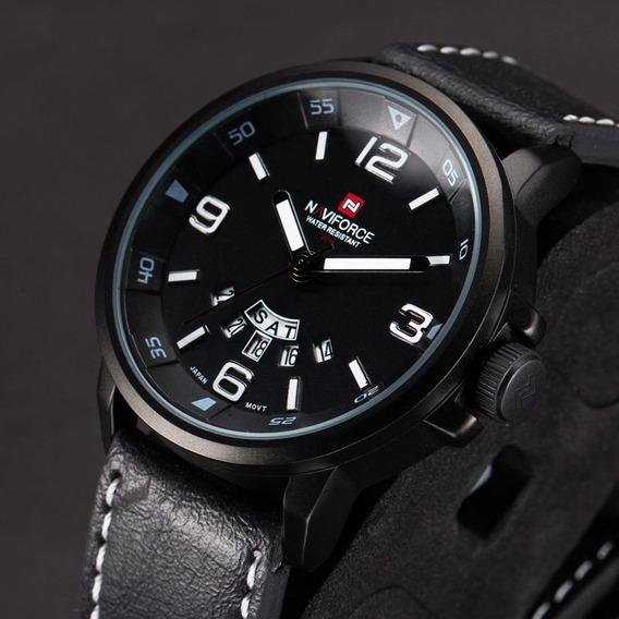 Relógio Masculino Original Luxo Naviforce Couro