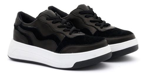 Imagen 1 de 6 de Zapatillas De Cuero Con Plataforma Mujer Urbanas Sneakers
