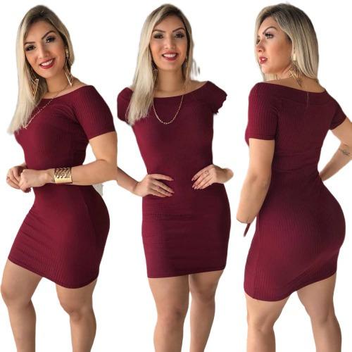 Vestido Básico De Manguinha Canelado Sem Bojo R9467 Vcmgs