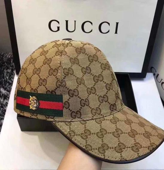 Boné Gucci Monogramado - Importado - Fecho Em Couro