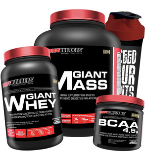 Kit Giant Mass + Giant Whey + Bcaa Powder + Shaker Full