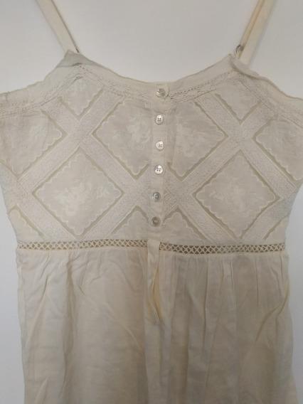 Vestido Tipo Solero Color Crudo Con Bordados Marca Rapsodia