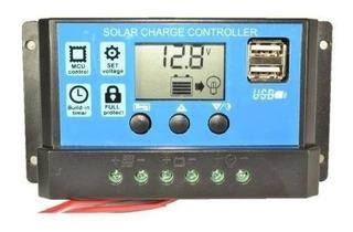 Regulador Panel Solar 20a. 12/24 V Display Y Puerto Usb X 2