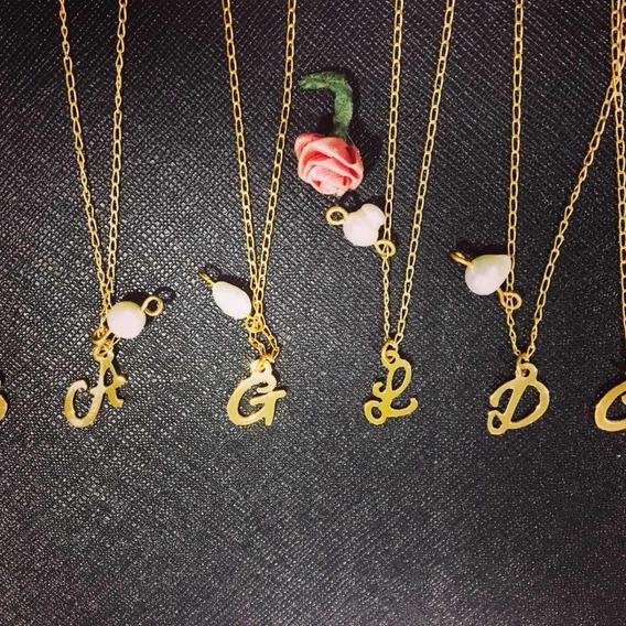 Collar De Iniciales Chapa De Oro Con Perla