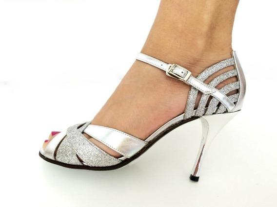 Zapatos De Baile,tango,fiesta,salsa Cuero Plata Taco 8,5 O 6
