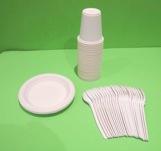 Combo 3 Vasos Platos Desechables Fiesta X 25 Biodegradables