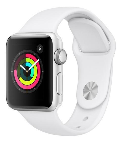 Apple Watch Series 3 Gps - 38mm - Caixa Prateada De Alumínio Com Pulseira Esportiva Branca