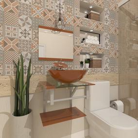Gabinete De Vidro 60cm Cuba Redonda Para Banheiro - Cores