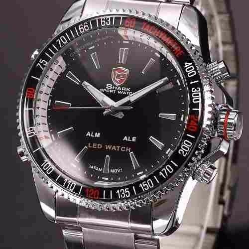 Relógio Shark Original Led Alarme Analogico Digital