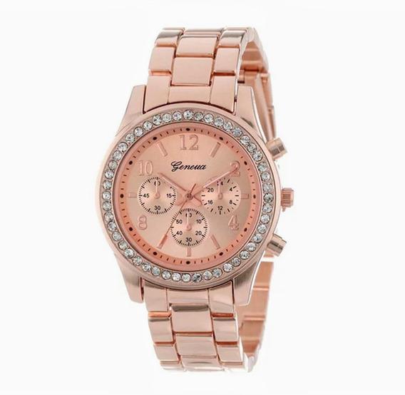 Geneva - Relógio Pulso Feminino - Aço Inoxidável - Rose