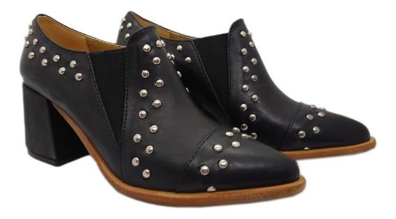 Zapato Cuero Tachas Negro Hueso Rojo Abryl Cuotas Botas