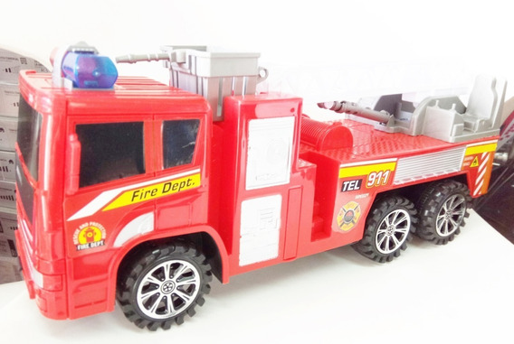 Camion Bombero Plastico A Friccion Escala Grande L 37 Cm