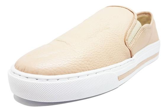 Feminino Slip On Tênis 100% Couro Branco 221